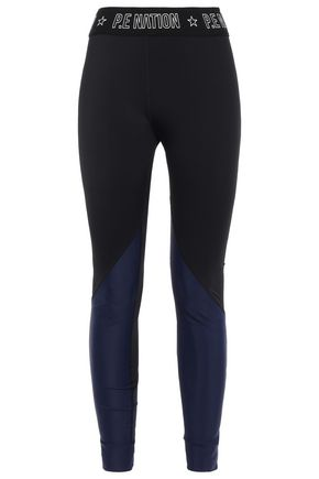 P.E NATION Grosgrain-trimmed printed two-tone stretch leggings