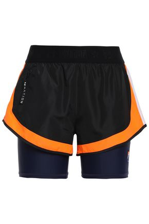 P.E NATION Shell-layered neon-trimmed tech-jersey shorts
