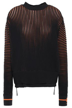 P.E NATION Two-tone ribbed-knit sweater