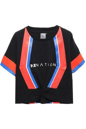 P.E NATION Cropped printed color-block stretch-cotton jersey top