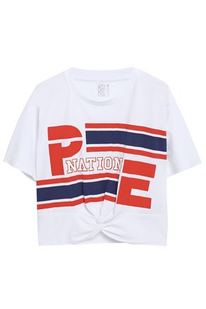 P.E NATION Cropped twisted printed cotton-jersey T-shirt