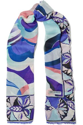 EMILIO PUCCI Printed wool and silk-blend scarf