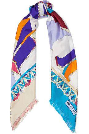 EMILIO PUCCI フリンジ付き プリントシルクツイル スカーフ