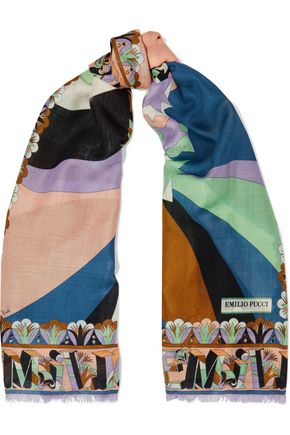 EMILIO PUCCI Fringed printed wool and silk-blend scarf