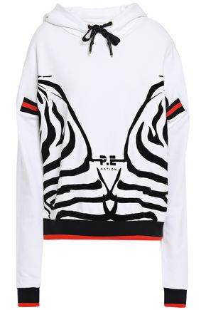 P.E NATION Printed French cotton-terry hooded sweatshirt