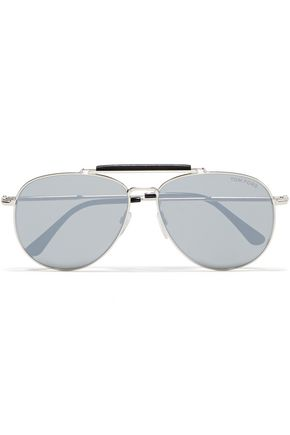 TOM FORD Aviator-style acetate and silver-tone sunglasses