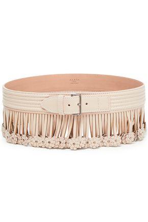 ALAÏA Floral-appliquéd fringe-trimmed quilted leather belt