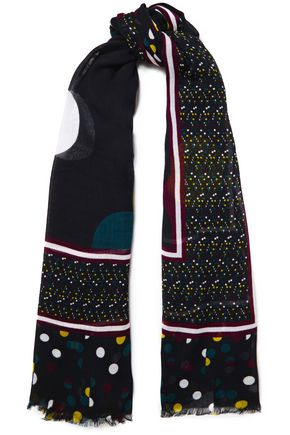 DIANE VON FURSTENBERG Frayed printed modal-blend gauze scarf