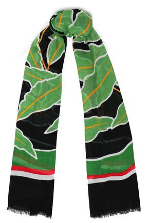 DIANE VON FURSTENBERG Fringe-trimmed printed modal-blend gauze scarf
