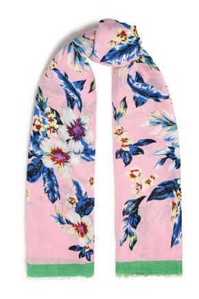 DIANE VON FURSTENBERG Frayed floral-print linen-blend gauze scarf