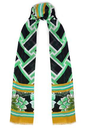 DIANE VON FURSTENBERG Fringe-trimmed printed modal-gauze scarf