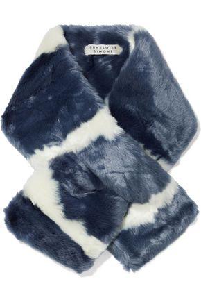 CHARLOTTE SIMONE Clara two-tone faux fur scarf