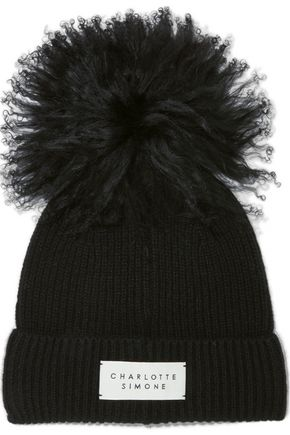 CHARLOTTE SIMONE Bonnie shearling pompom-embellished ribbed cashmere beanie