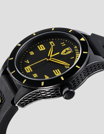 Black RedRev boys' watch with yellow details