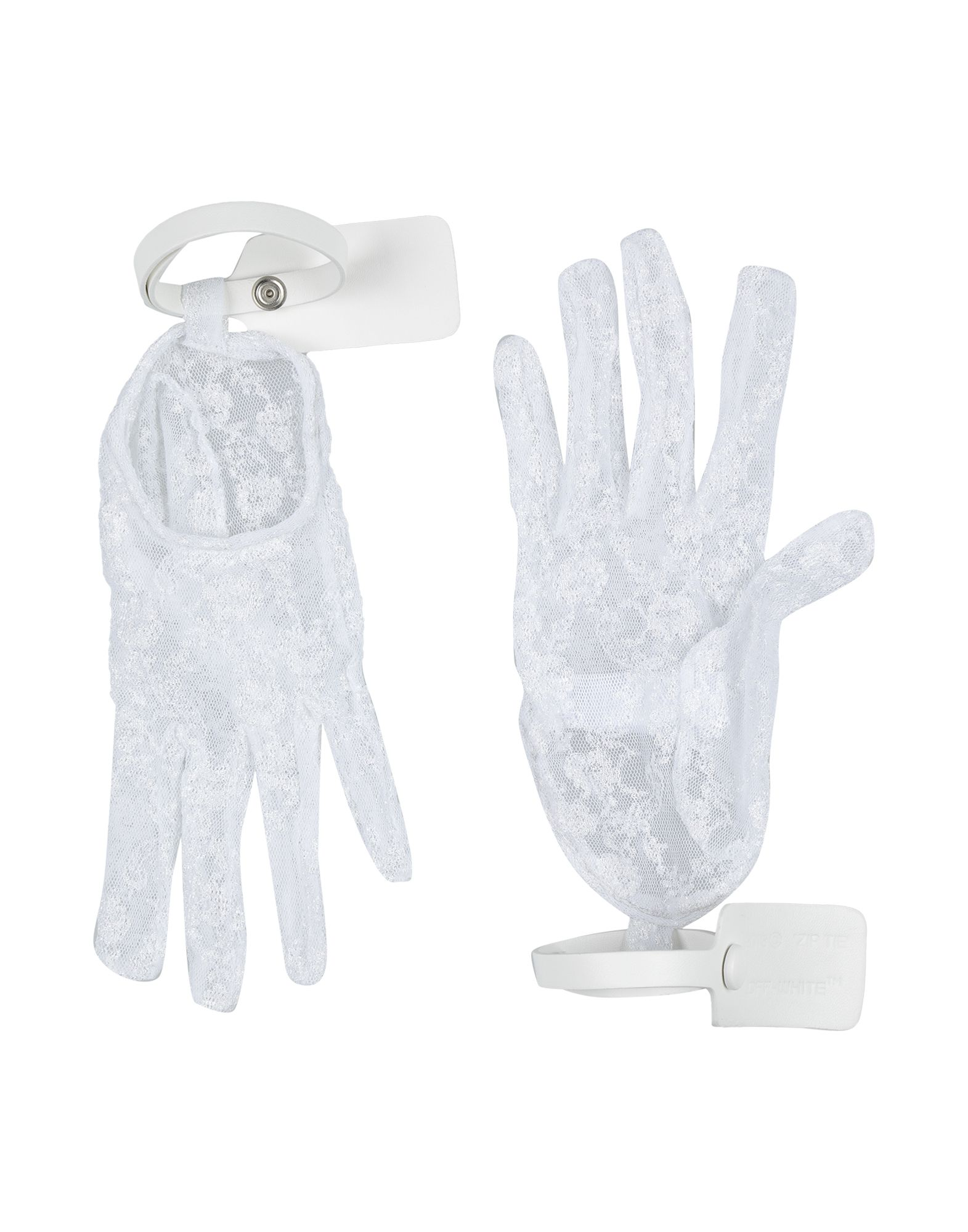 OFF-WHITE™ Gloves. leather, lace, no appliqués, solid color, contains non-textile parts of animal origin. 65% Viscose, 35% Polyamide, Soft Leather