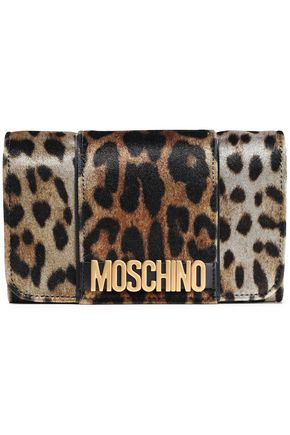 MOSCHINO Embellished leopard-print velvet wallet