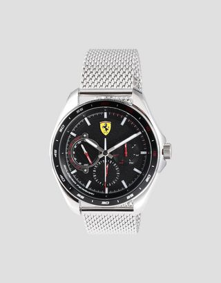 Scuderia Ferrari Online Store - Speedracer multifunction watch with black dial and metal mesh strap - Chrono Watches
