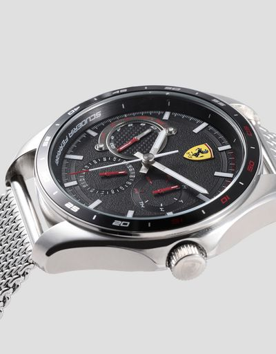 Speedracer multifunction watch with black dial and metal mesh strap