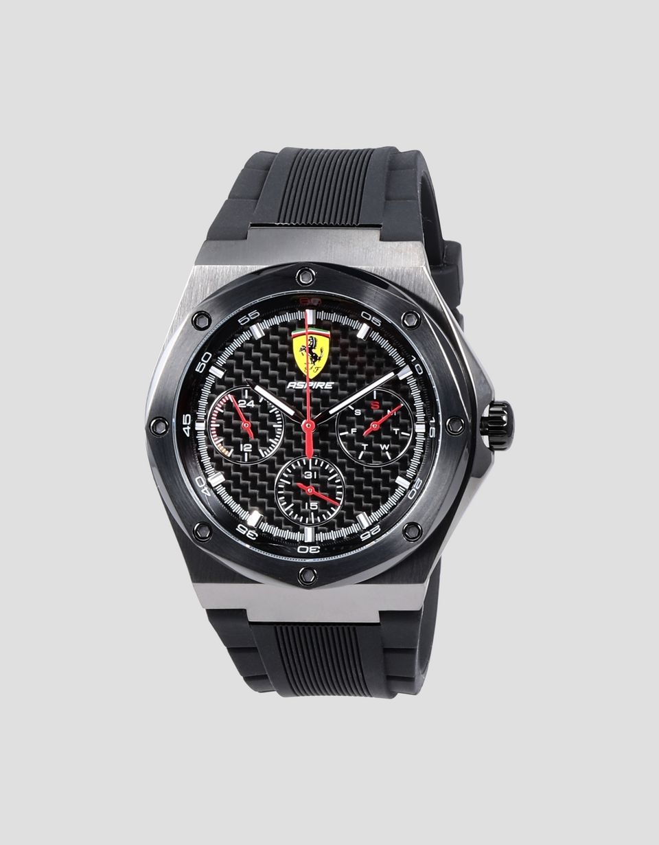 Scuderia Ferrari Online Store - Aspire multi-functional watch with gray case and black silicone strap - Chrono Watches