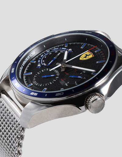 Speedracer multi-functional watch with blue bezel and metal mesh bracelet