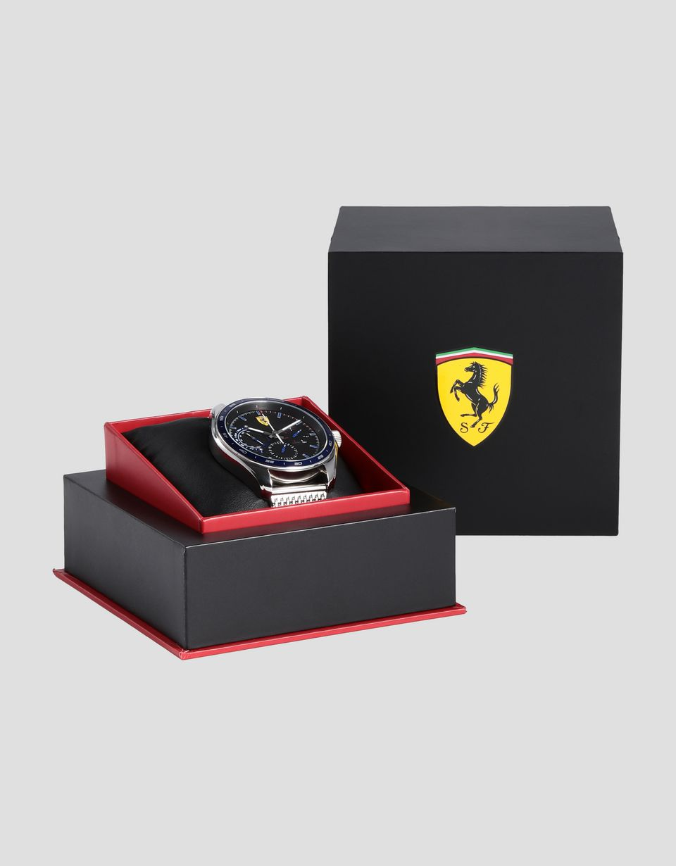 Scuderia Ferrari Online Store - Speedracer multi-functional watch with blue bezel and metal mesh bracelet - Chrono Watches