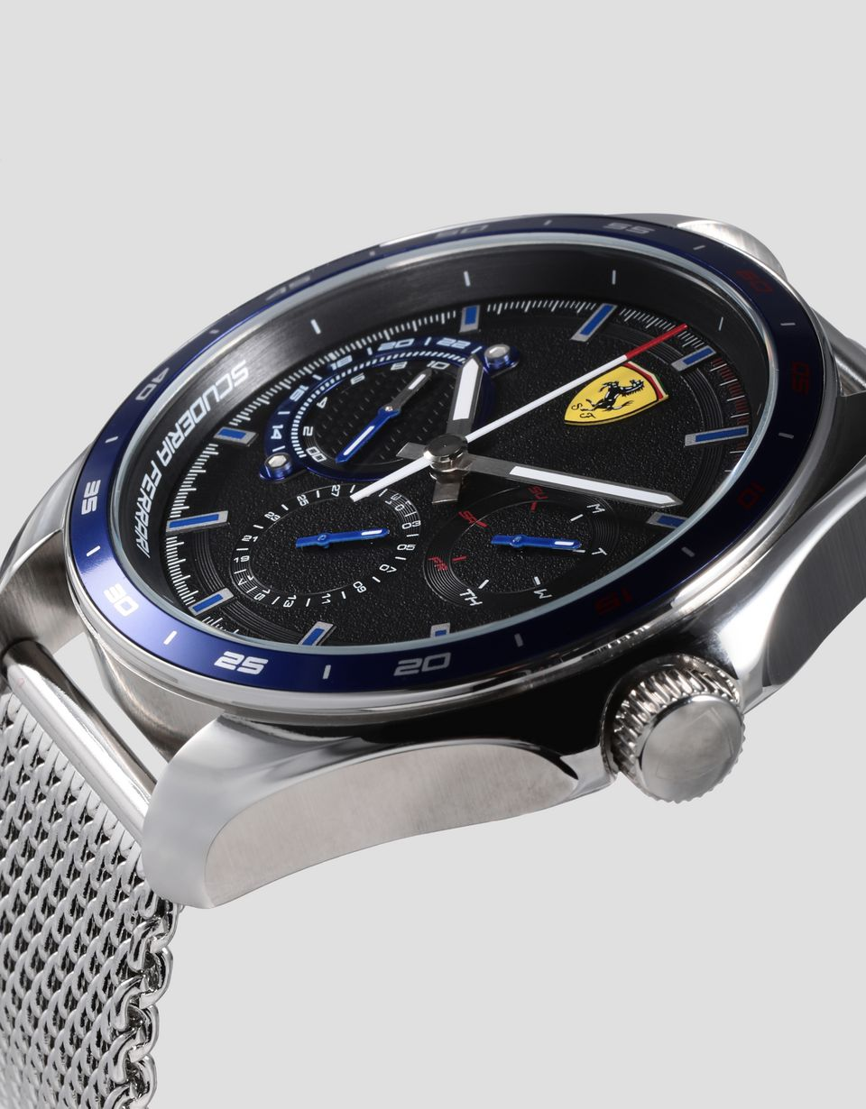 Scuderia Ferrari Online Store - Speedracer multifunction watch with blue bezel and metal mesh strap - Chrono Watches