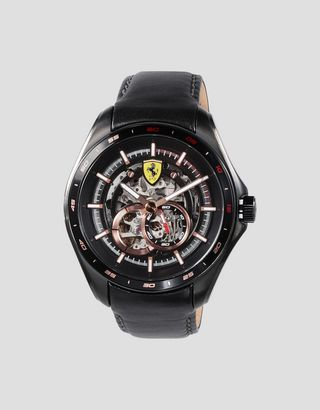 Scuderia Ferrari Online Store - Speedracer automatic watch with skeleton dial and rose gold colored details - Chrono Watches