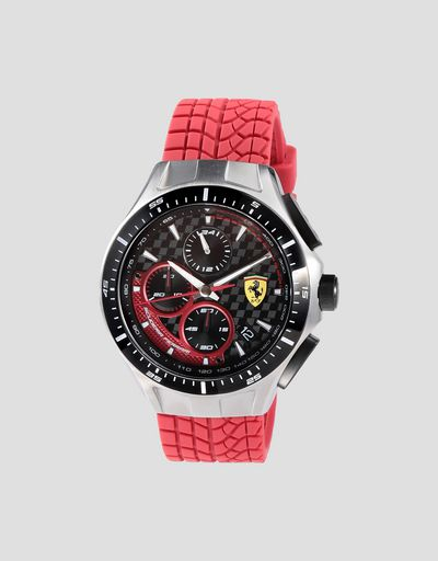 Race Day chronograph watch with red silicone strap