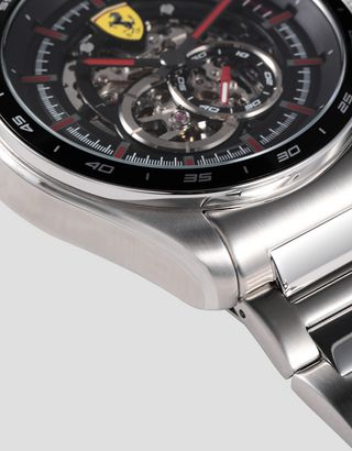 Scuderia Ferrari Online Store - Speedracer automatic steel watch with skeleton dial and red details - Chrono Watches