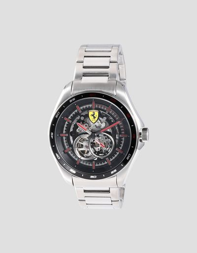 Speedracer automatic watch in steel with skeleton dial and red details