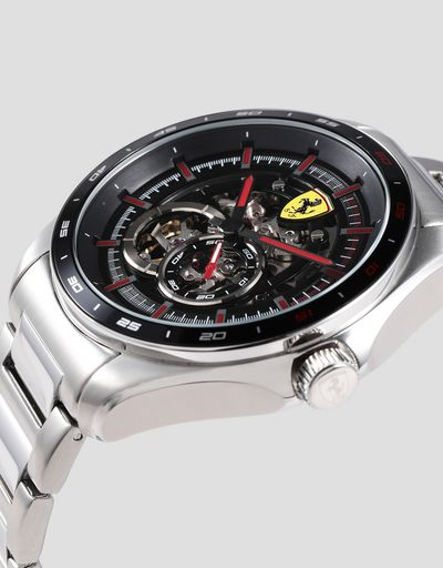 Speedracer automatic steel watch with skeleton dial and red details
