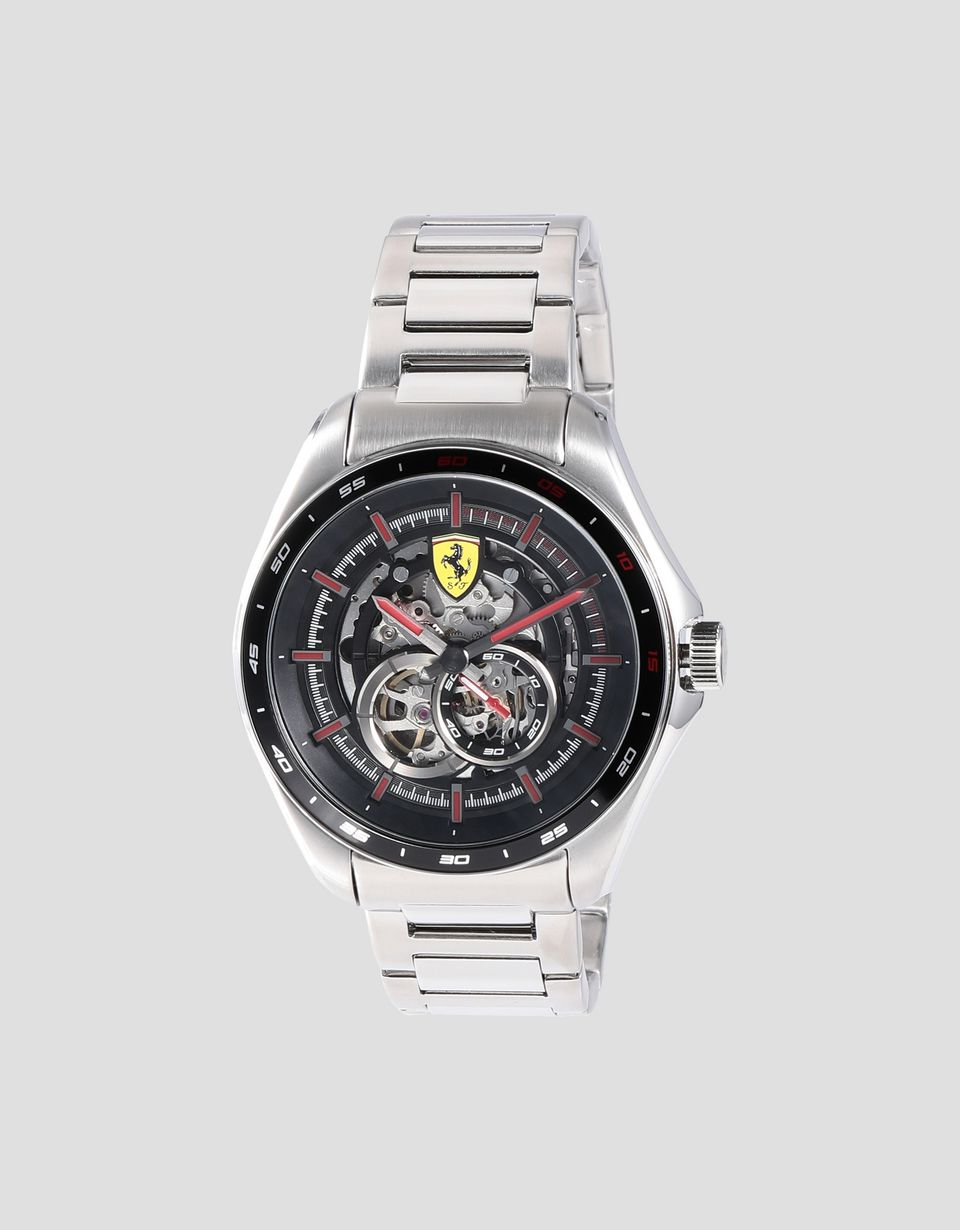 Scuderia Ferrari Online Store - Speedracer automatic watch in steel with skeleton dial and red details - Chrono Watches