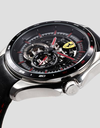 Speedracer automatic watch with skeleton dial and red details