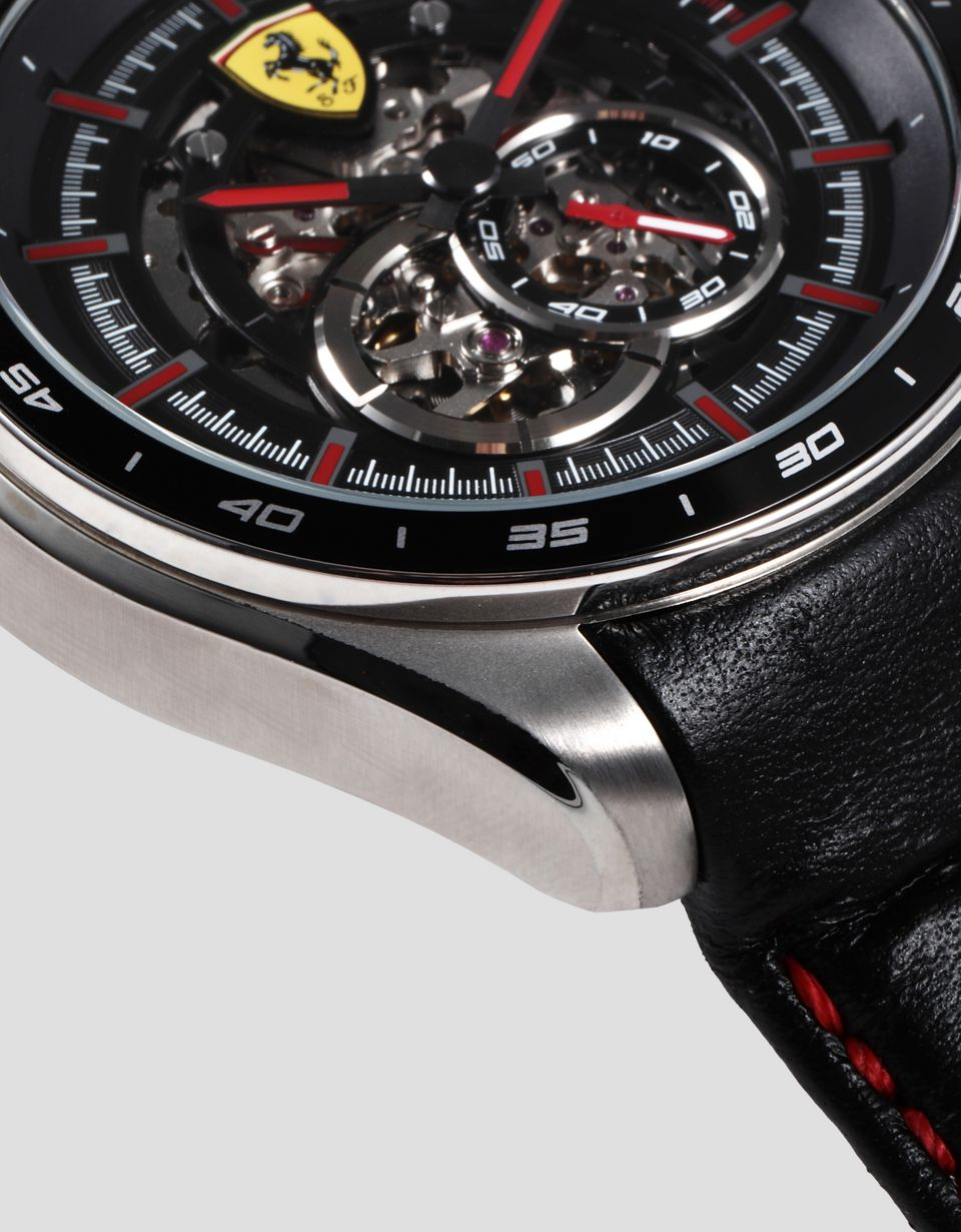 Scuderia Ferrari Online Store - Speedracer automatic watch with skeleton dial and red details - Chrono Watches