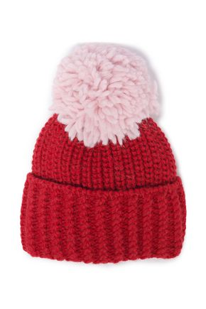 SANDRO Pompom-embellished two-tone ribbed-knit beanie