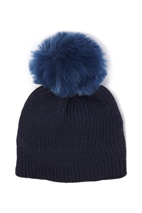 SANDRO Faux fur-trimmed two-tone ribbed wool-blend beanie