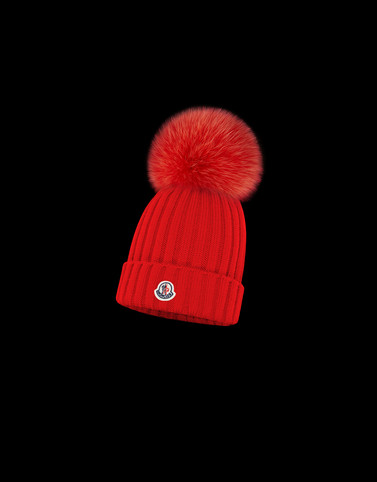 HAT Red Category POMPOM BEANIES Woman