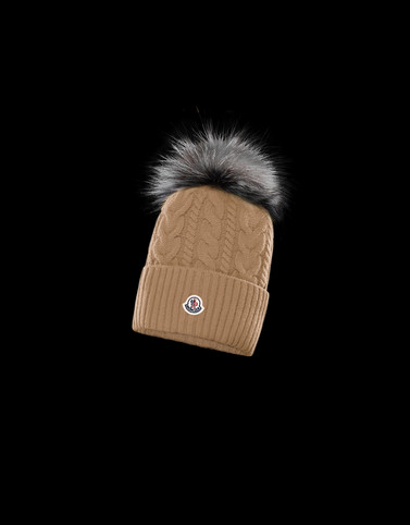 HAT Khaki Category POMPOM BEANIES Woman