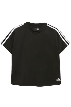 ADIDAS Logo-embellished striped stretch-jersey T-shirt