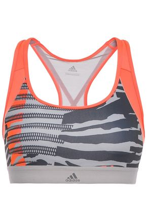 ADIDAS Paneled printed mesh and stretch-sports bra