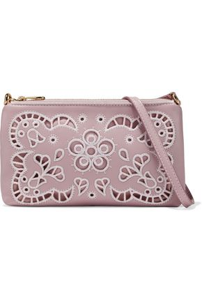 DOLCE & GABBANA Broderie anglaise leather and canvas pouch