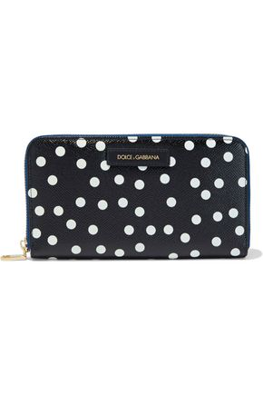 DOLCE & GABBANA Polka-dot textured-leather continental wallet