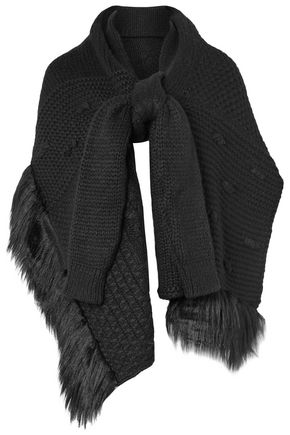 SIMONE ROCHA Faux fur-trimmed alpaca-blend scarf