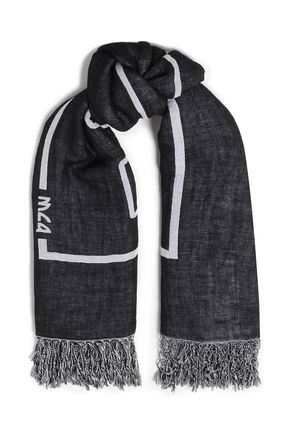 McQ Alexander McQueen Fringe-trimmed printed cotton and linen-blend scarf