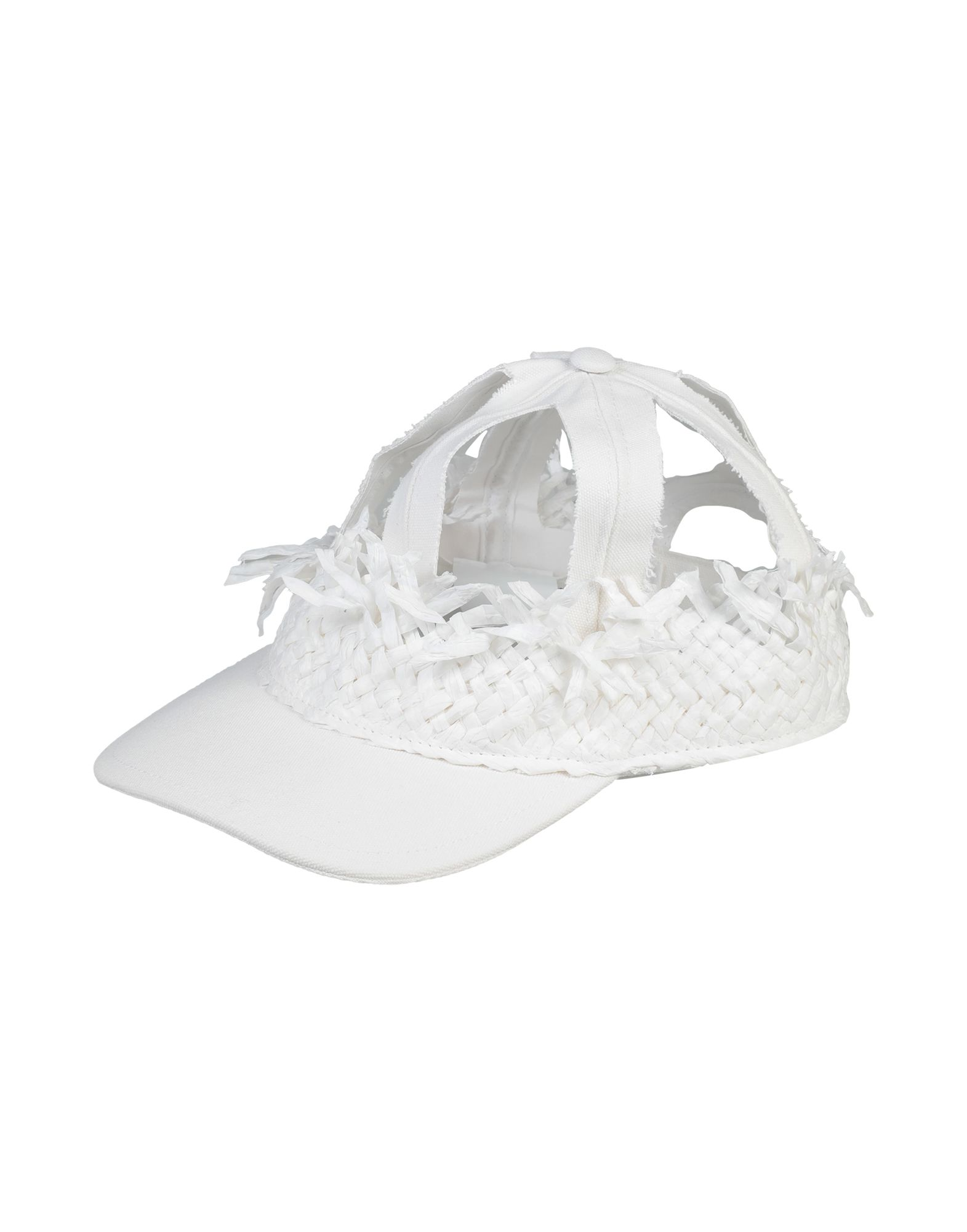MAISON MARGIELA Hats. canvas, no appliqués, basic solid color, hard visor, velcro closure. 100% Cotton, Natural raffia