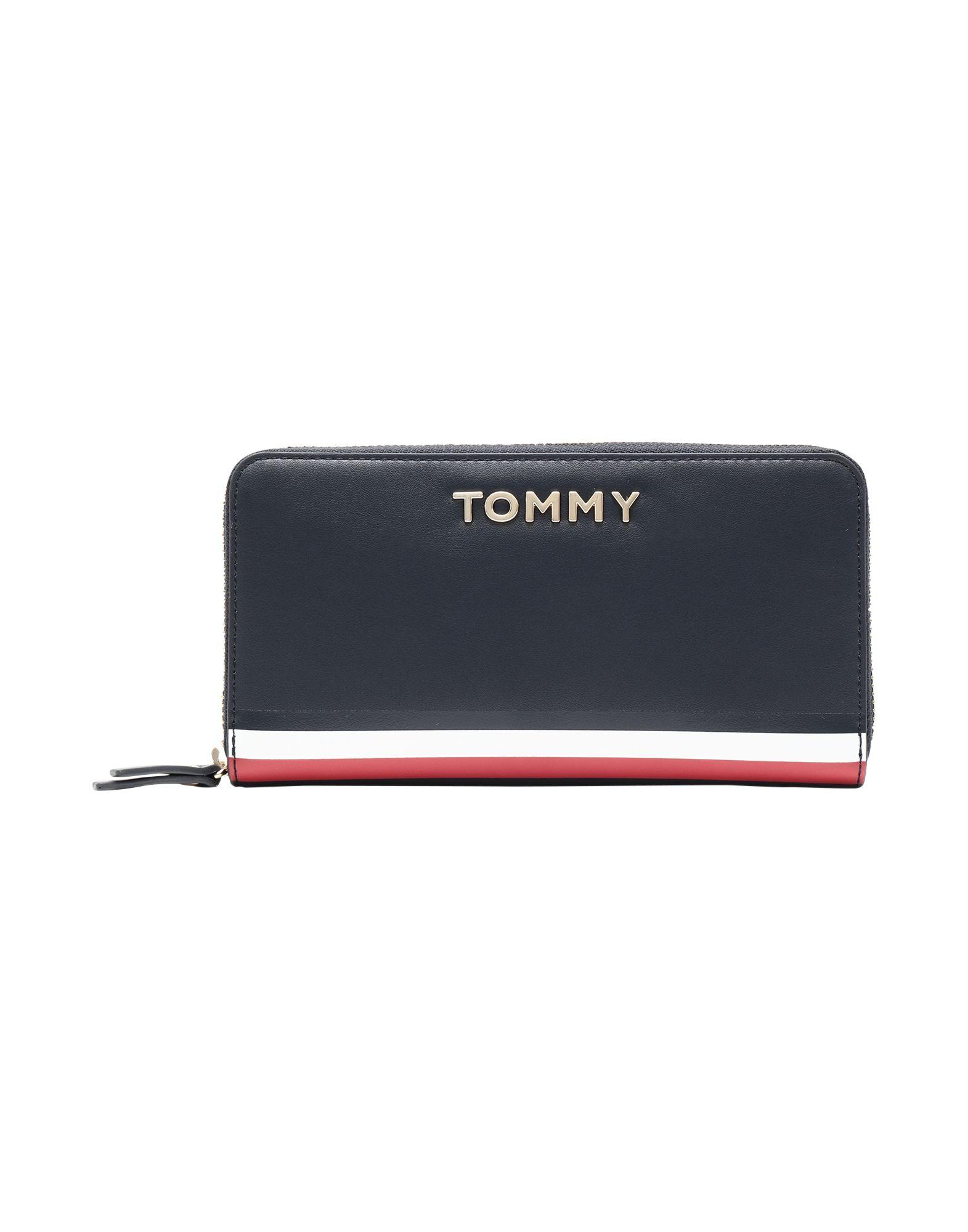 《セール開催中》TOMMY HILFIGER レディース 財布 ダークブルー ポリウレタン 100% TH CORPORATE LARGE