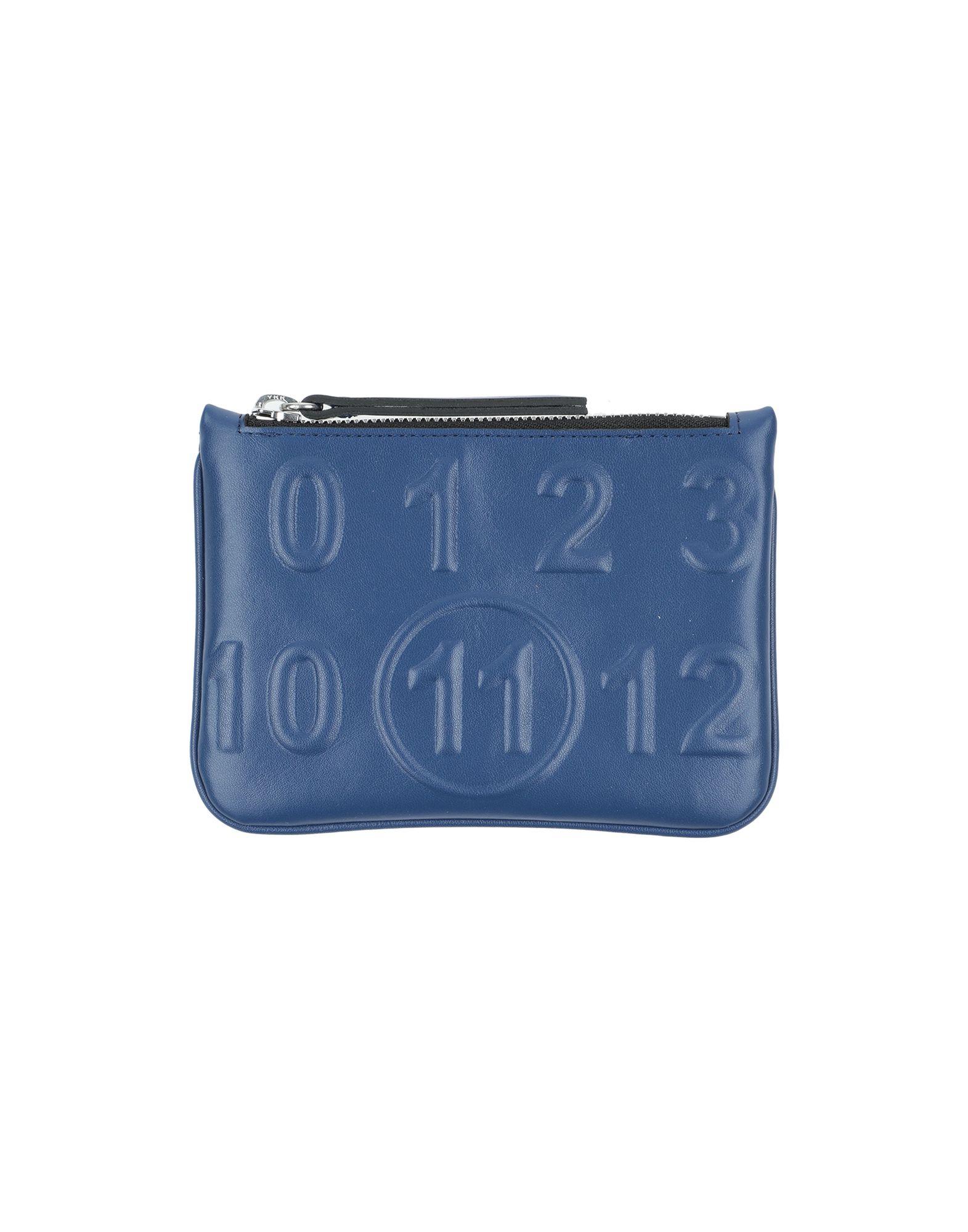 MAISON MARGIELA Pouches. faux leather, logo, solid color, zip. 57% Polyester, 43% Polyurethane