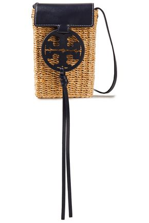 TORY BURCH Logo-embellished leather-trimmed woven raffia phone bag