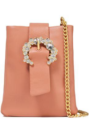 TORY BURCH Crystal-embellished leather shoulder bag