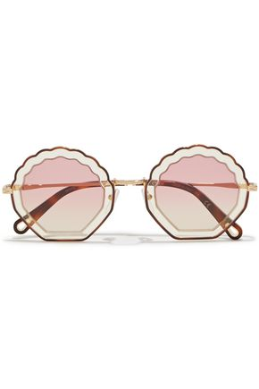 CHLOÉ Round-frame acetate and gold-tone sunglasses